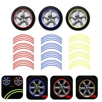 16Pcs/set Motorcycle Car Wheel Rim 16 Reflective Strips 18 Waterproof Stripe Tape Decal Stickers Road Reflective Warning Tape image