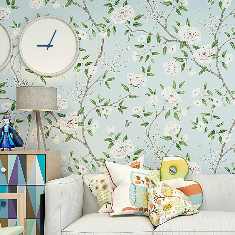 American-Style Village Pastoral Style Wallpaper Green Hipster Literature And Art Light Blue Bedroom Background Of Television In
