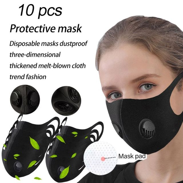 Adult Double Breathing Valve Mouth Mask Dustproof  -Fog Haze PM2.5 Saliva Prevention Polyurethane Sponge Fa  Shield 1