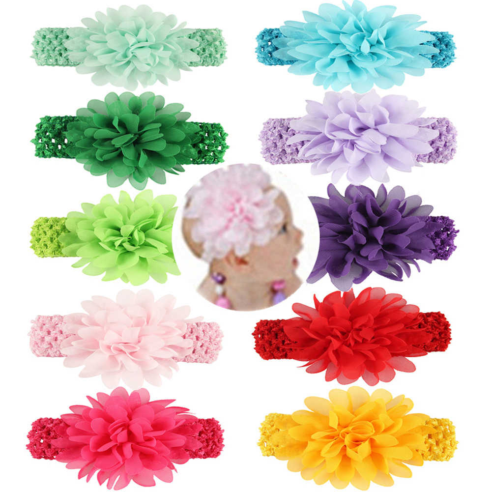 เด็กทารก Headband เด็กวัยหัดเดินเด็กทารกถักโครเชต์ Hairband & Big ชีฟองดอกไม้ Headbands เด็กอุปกรณ์เสริมผม