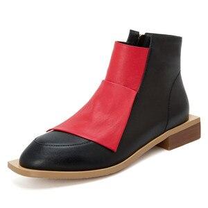 Image 2 - FEDONAS Chất Lượng Hỗn Hợp Màu Sắc Da Thật Chính Hãng Da Nữ Cổ Chân Giày Cổ Điển Mũi Tròn Giày Chelsea Boot Quàng Nam Giày Người Phụ Nữ Cổ Ngắn Tăng