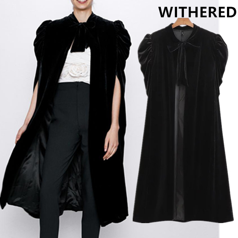 Withered England Style Personality Vintage Bow Puff Sleeve Elvet Black Long Jacket Cape Women Tops Trench Coat Women