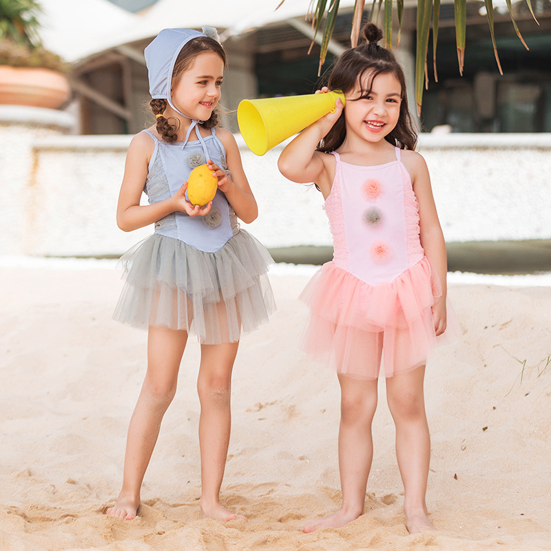 New Style South Korea KID'S Swimwear Medium-small GIRL'S One-piece Swimming Suit Lace Princess Dress Infants Baby Girls Tour Bat