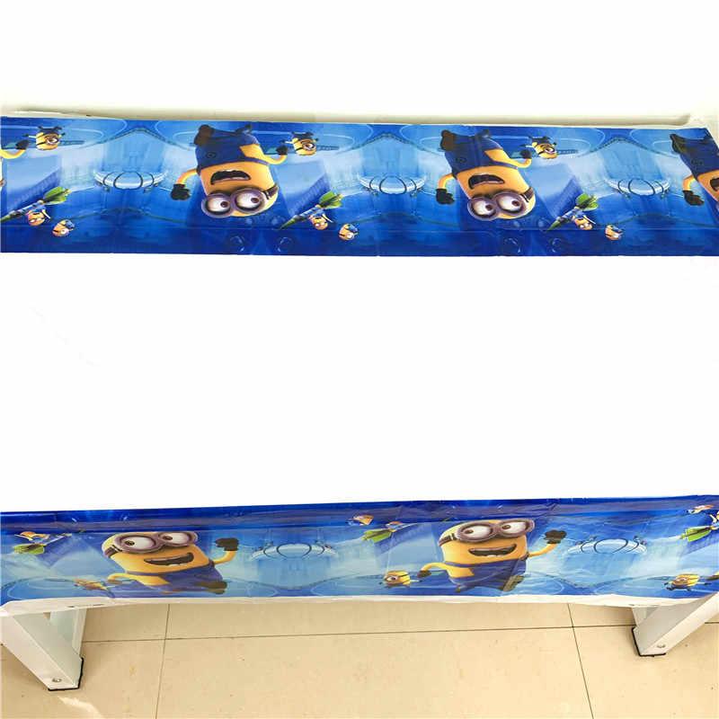 1PC Kartun Tema Minion 1.08X1.8 M Plastik Taplak Meja untuk Perlengkapan Pesta Ulang Tahun Baby Shower Sekali Pakai Tablewa dekorasi