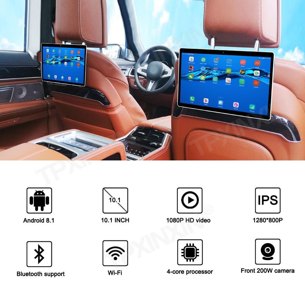 Repose tête avec moniteur tactile vidéo, écran de voiture de 10.1 pouces, Android 9.0, 1080 P HD 1080 P, WIFI, Bluetooth, USB, SD, HDMI, FM, lecteur MP5, 2.5