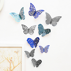 12 Pcs/Set New 3D Wall Stickers Hollow Butterfly stickers for Kids Rooms Art Home Wall Decor DIY Mariposas Fridge stickers