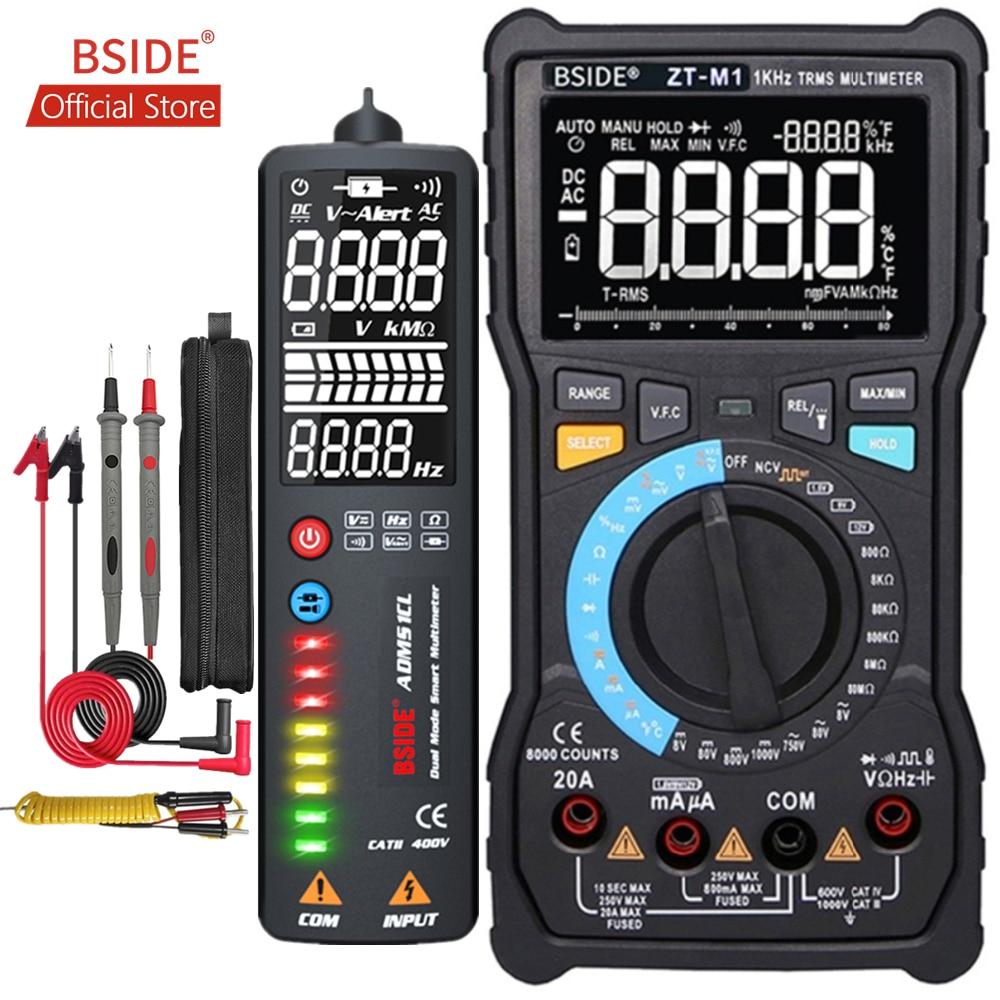 BSIDE ZT-M1 Auto Manual Digital Multimeter EBTN Triple Display 8000 Counts Battery Test Voltage VFC Square Wave Output Tester