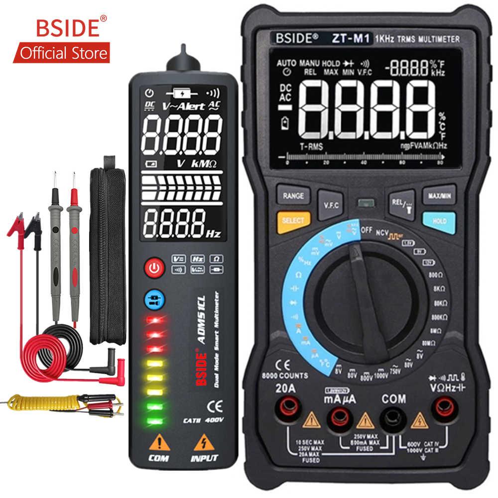 Bside ZT-M1 auto/manual digital multímetro ebtn triple display 8000 contagens teste de bateria tensão vfc onda quadrada saída tester
