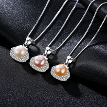 S925 Pure Silver Necklace with 3A Zircon 8-8.5mm Steamed Bread Pearl Delicate Fresh Earrings for Women Party Gift