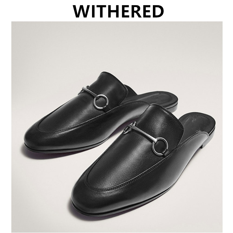 Withered Ins Blogger Summer Shoes Women England Offcie Lady Genuine Leather Comfort Slip-on Mules Slippers Women Shoes Woman