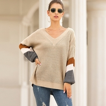 Casual V neck knitted sweater women jumper stripe Lantern sleeve knitting pull femme 2019 autumn winter sweater pullover female