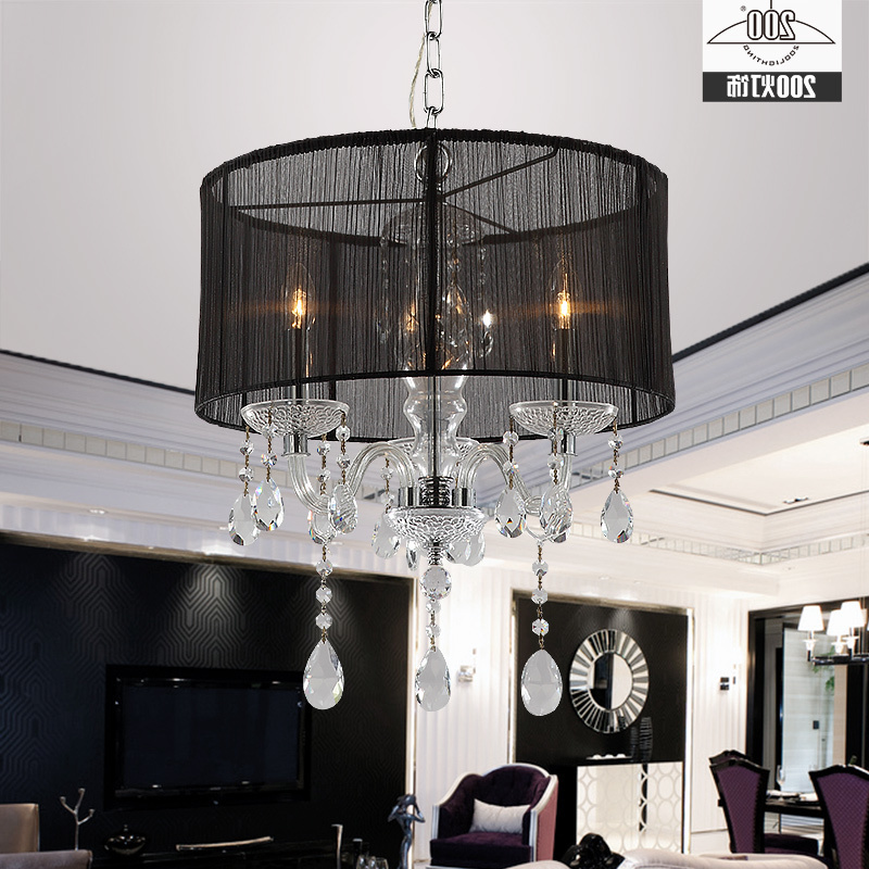 European Style White Fabric Shade Led Modern K9 Crystal Chandeliers E14 Lustres De Cristal Chandelier Luminaria