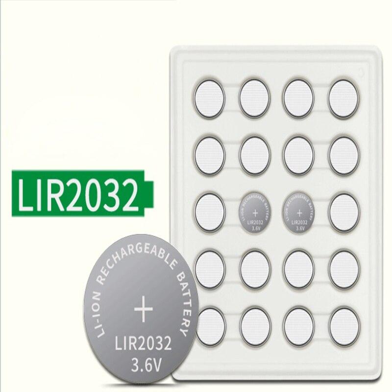 20 шт 3,6 V LIR2032 lir 2032 лития ионный перезаряжаемый аккумулятор 40 мА/ч, литий-ионная кнопка плоский круглый аккумулятор замена для CR2032 CR 2032