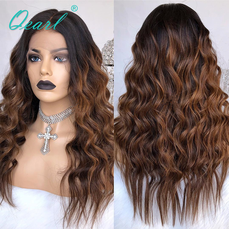 Ombre 1b/30/33 Highlights Lace Front Human Hair Wigs 13*4/13x6 Lace Wig Pre-Plucked With Baby Hair Wavy Remy Hair Qearl