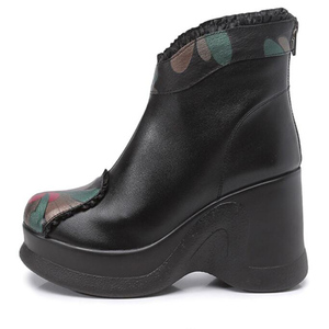 Image 5 - GKTINOO 2020 Boots Women Comfortable Autumn Genuine Leather Ankle Boots for Women Soft Wedges Platform Shoes Ladies
