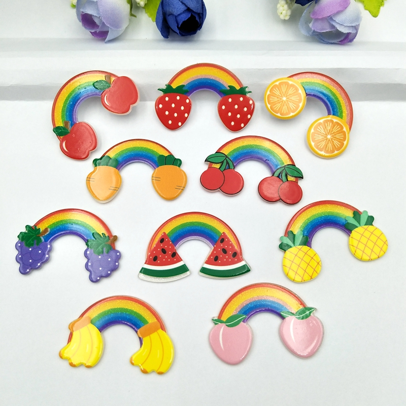 10pcs Lovely Colorful Glitter Mixed Fruit  Rainbow Flat Back Acrylic Miniature Pattern Applique  DIY Wedding Scrapbook Craft