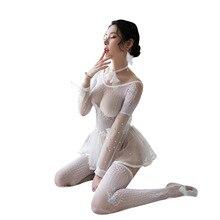 Sexy openwork lingerie womens skirt pajamas one-piece mesh suit sexy bodysuit temptation body erotic sleepwear