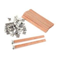 50 Uds. De mechas para velas de madera Natural, 13x130mm, con pestaña de soporte, Diy, fabricación de velas, suministros de cera de soja para familia