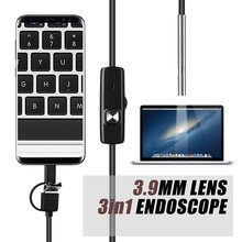 Endoskop Kamera 3.9 Mm 3in1 USB Mini Camcorder IP67 Tahan Air 6 LED Borescope Inspeksi Kamera untuk Windows Macbook PC Android(China)