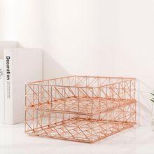 Nordic Wrought Iron Magazine Newspaper Storage Basket Desktop Sundries Organizer 667F