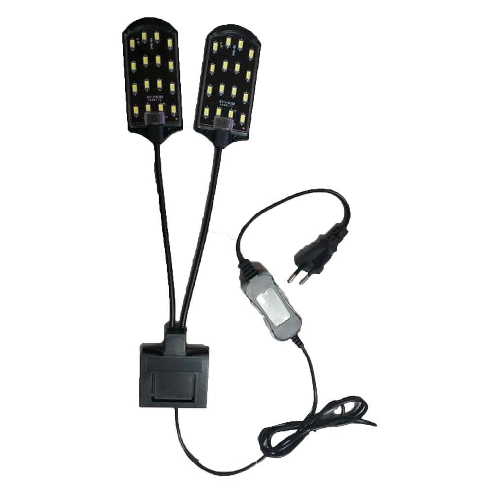 High-power Dual Head Water Grass Lighting 5730 Bean LED Clip On Clamp Lamp For Small Aquarium Fish Tank 15W 220V EU Plug