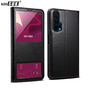 Image 1 - Huawei Honor 20 Case Genuine Leather Smart Window Magnet Flip Retro Cover For Huawei Honor 20 Pro Phone Casing With Sleep Koosuk