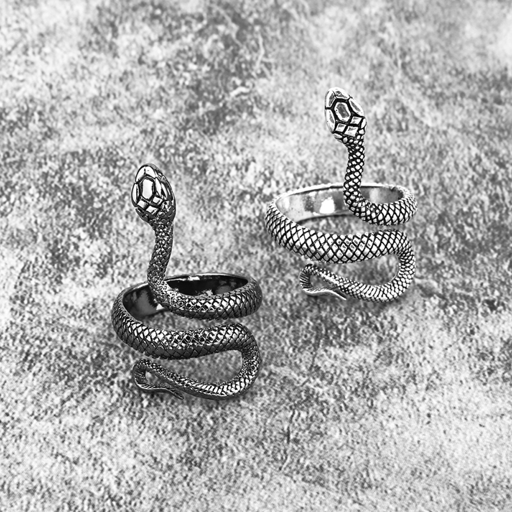 1 Piece European New Retro Punk Exaggerated Spirit Snake Ring Fashion Personality Stereoscopic Opening Adjustable Ring Jewelry 1