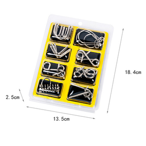 Image 5 - 8Pcs/Set Metal Montessori Puzzle Wire IQ Mind Brain Teaser Puzzles Children Adults Interactive Game Reliever Educational Toys