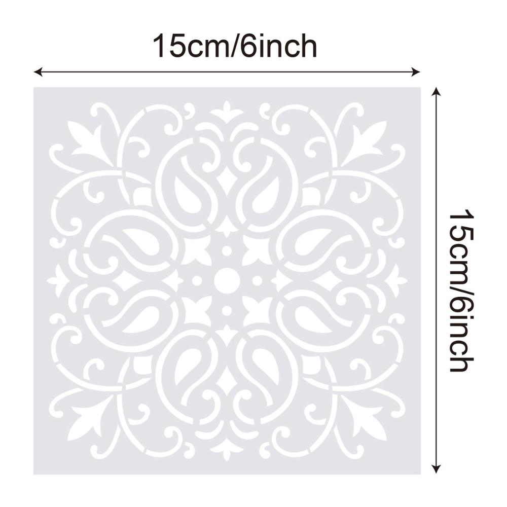 1pc 15*15 Mandala Stencils DIY home decoration drawing Laser cut template Wall Stencil Painting for Wood Tiles Fabric 3