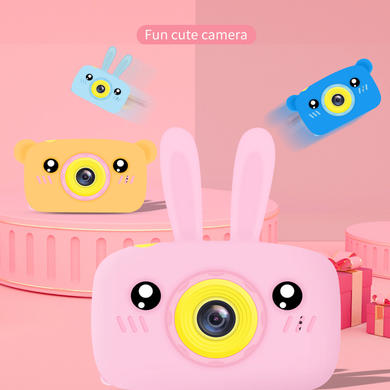 Real Mini Camera Kids Toys Cartoon Digital Camera Baby Toys 12.0M With 2.0 Inch IPS Screen Children Educational Toys Gift