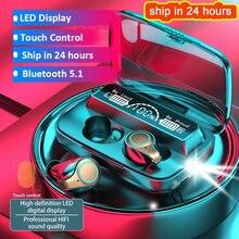 Auriculares inalámbricos M18 TWS Táctiles con Bluetooth V5.1, dispositivos deportivos impermeables con pantalla LED, HiFi estéreo y micrófonos