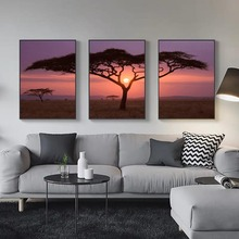 canvas 3 pieces combined Painting poster and prints wall art  background pictures for living room elephant sunset trees