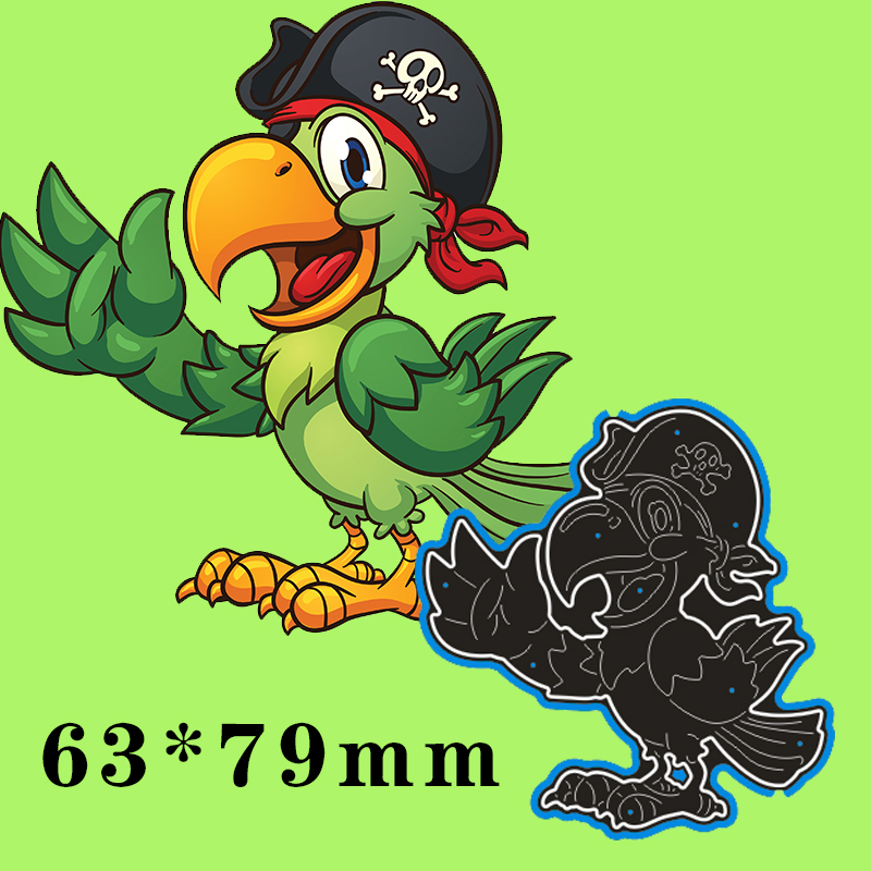 63*79mm Pirate Parrot New Metal Cutting Dies Scrapbook Paper Decoration Template Embossing DIY Paper Card Craft