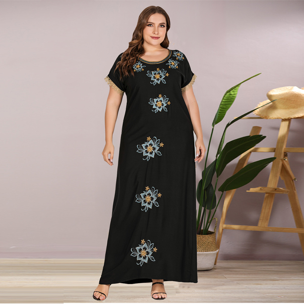 Siskakia Embroidered Beaded Long Dress Black Plus Size Women's Maxi Dresses Fashion Laces Patchwork Short Sleeve Loose Casual