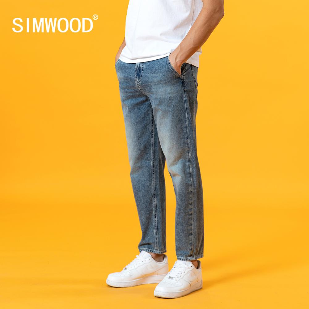 SIMWOOD 2020 summer new jeans men loose tapered thin ankle-length dark washed plus size brand clothing SJ130801