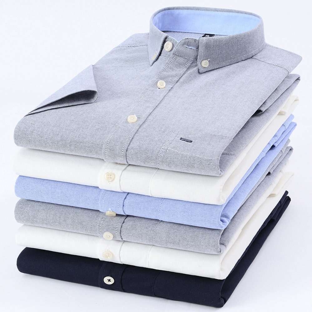Mens Dress Shirt 100% Cotton Oxford Slim Fit Camisas Masculina Button Down Collar Short-Sleeve Male