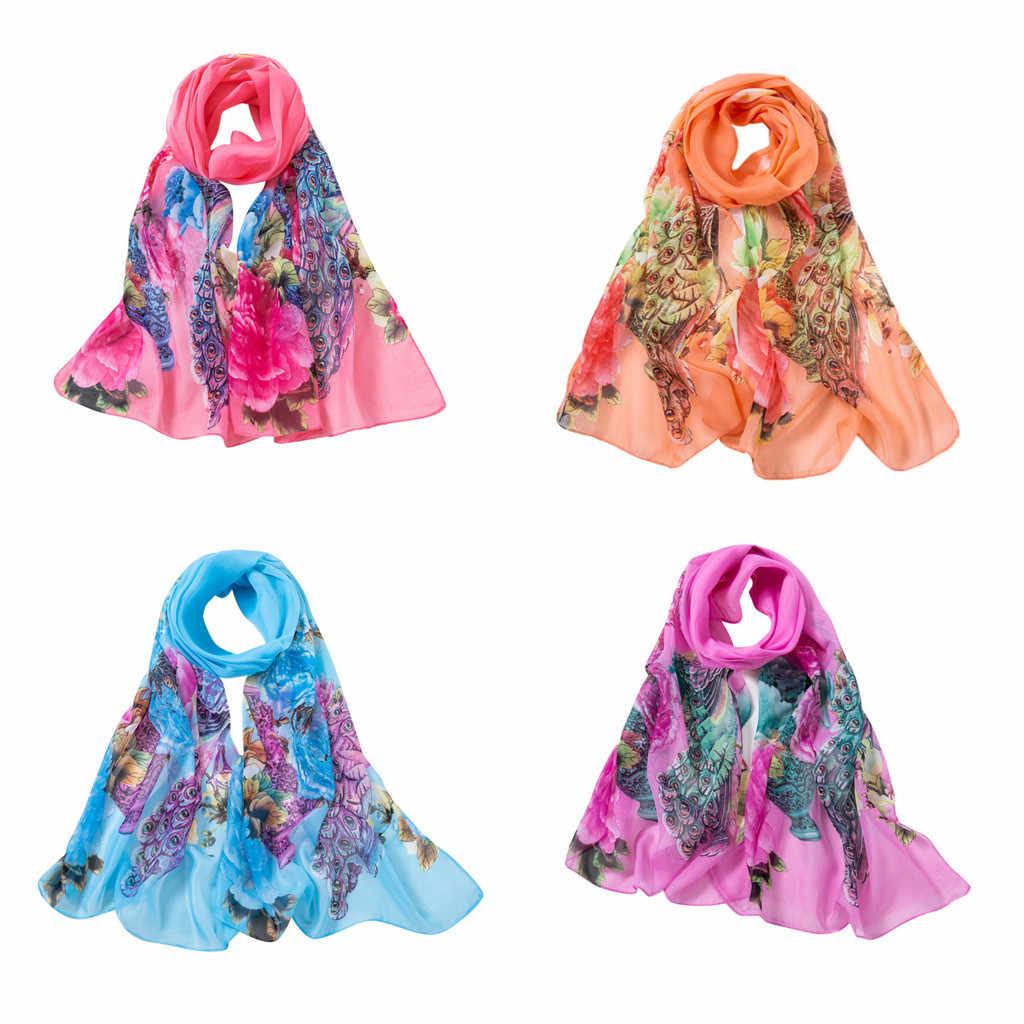 אופנה גבירותיי צעיף צעיפי נשים טווס הדפסה ארוך רך גלישת צעיף שיפון חיג 'אב פונצ' ו טמפרמנט יוקרה צעיף femme