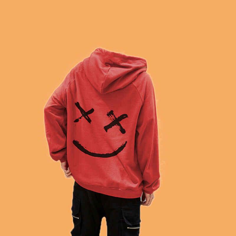 معطف للجنسين البلوز سعيد الوجه المبتسم طباعة الرجال خليط هوديس النساء طويل كم قناع السترة البلوز البلوز الرجال