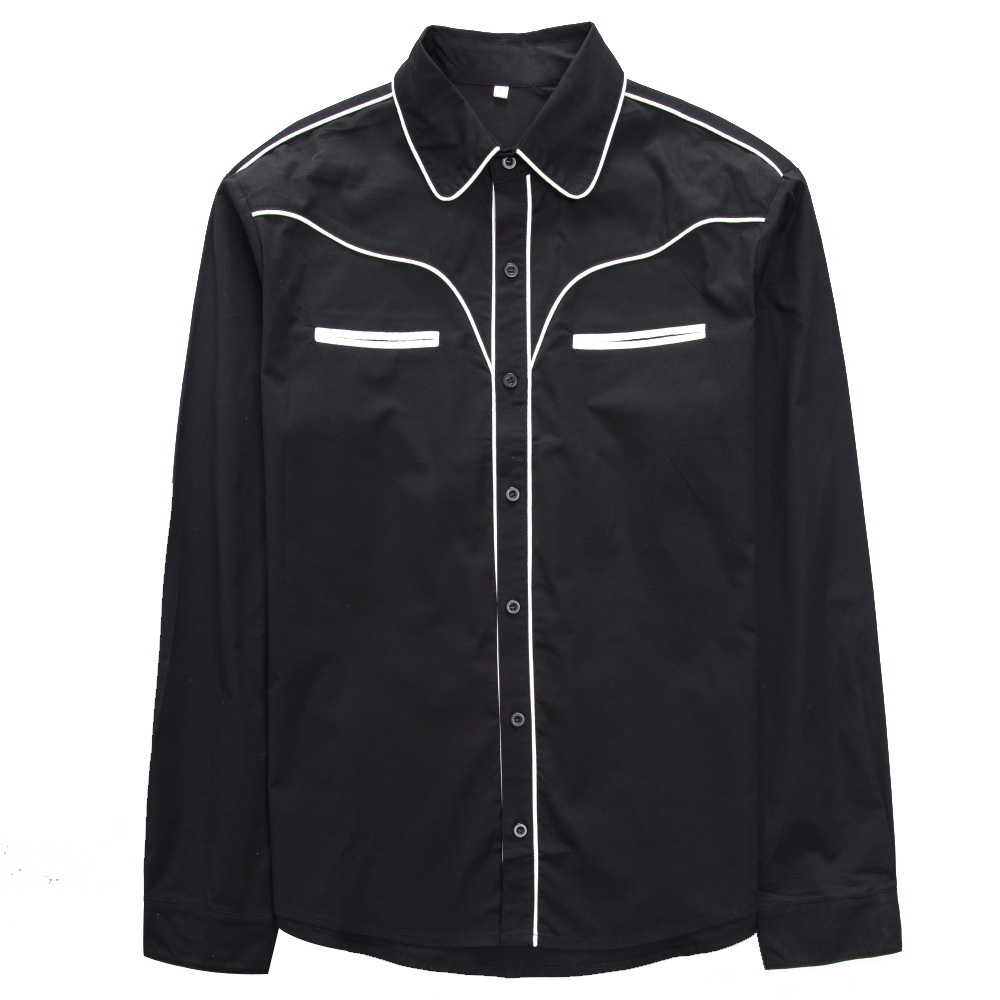 Cowboy Casual Men Shirt Long Sleeve Spring Men's Clothing Vintage Plus Size Gothic 50s Slim Fit Shirt Man Dress Jersey Clothing