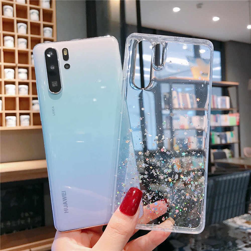 For Huawei P20 P30 Mate 10 20 Nova 3i 4 5i Honor 8X 9 10 20 Lite Pro V10 V20 Glitter Sequins Clear Soft Silicone TPU Case Cover
