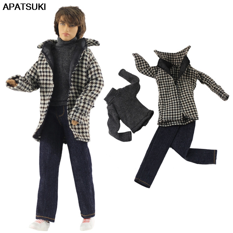 1/6 Boy Doll Clothes For Ken Doll Winter Wear Plaid Coat & Shirt & Trousers Pants For Barbie Boyfriend Ken Prince Male Boy Doll