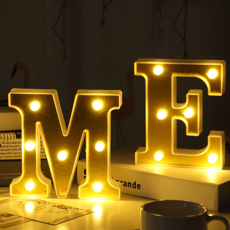 Fashion Gold English Letters Decorative Night Lamp Sign Alphabet Ornaments Crafts Letter Lettering For Wedding Xmas Numbers DIY in Decorative Letters Numbers from Home Garden