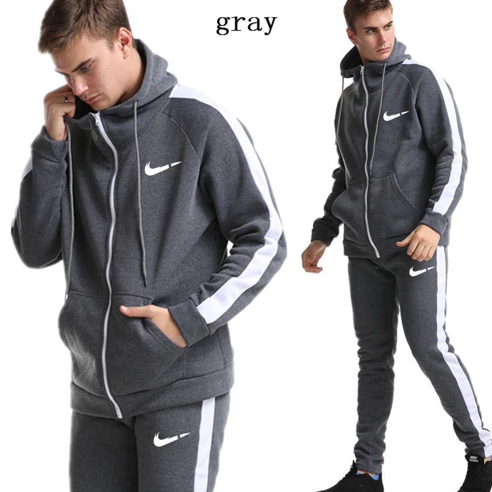 2019 New Fashion Printing Men's Sports Suit Plus Velvet Warm Sportswear Long-sleeved Hoodie Sweatshirt Gym Fitness Casual Wear