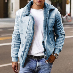 Men Faux Fur Jackets and Coats Winter Warm Parkas Lined with Fleece Lined Thermal Thick Faux Fur Coat Outerwear