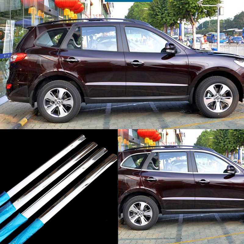 12pcs Stainless Steel Door Window Frame Sill Molding Trim For Hyundai Santa Fe 2006-2012 image