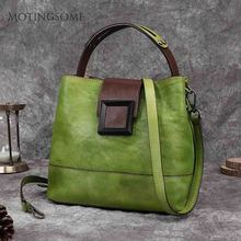 Handbag Large Bucket-Bag Shopper-Bags Natural Leather Vintage Women Ladies Retro