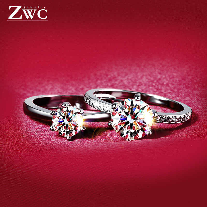 ZWC New Fashion Crystal Wedding Ring for women Finger Engagement Zircon Ring Female Jewelry 2019 Ring Party Gift 6/7/8/9 Size