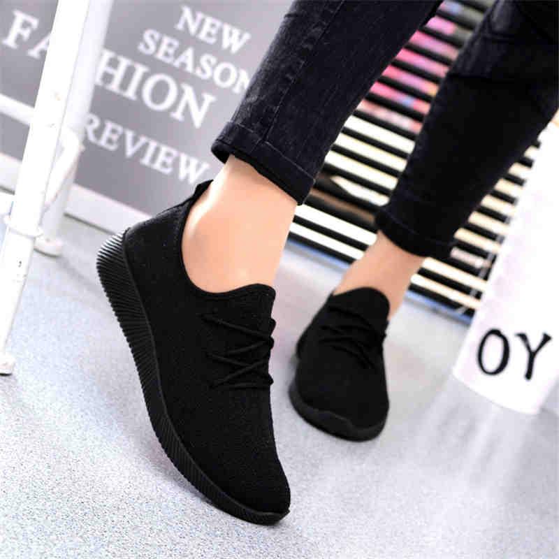 2019 Zapatos Casuales De Mujer Zapatillas De Deporte Poco Profundas Zapatillas De Deporte Negras Transpirables Zapatos De Mujer