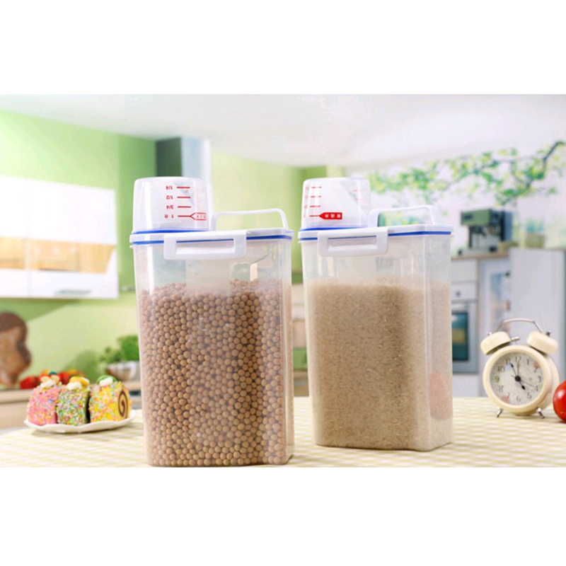 2L Plastic Cereal Dispenser Storage Box Kitchen Food Grain Rice <font><b>Container</b></font> PP Multifunctional transparent sealed cans image