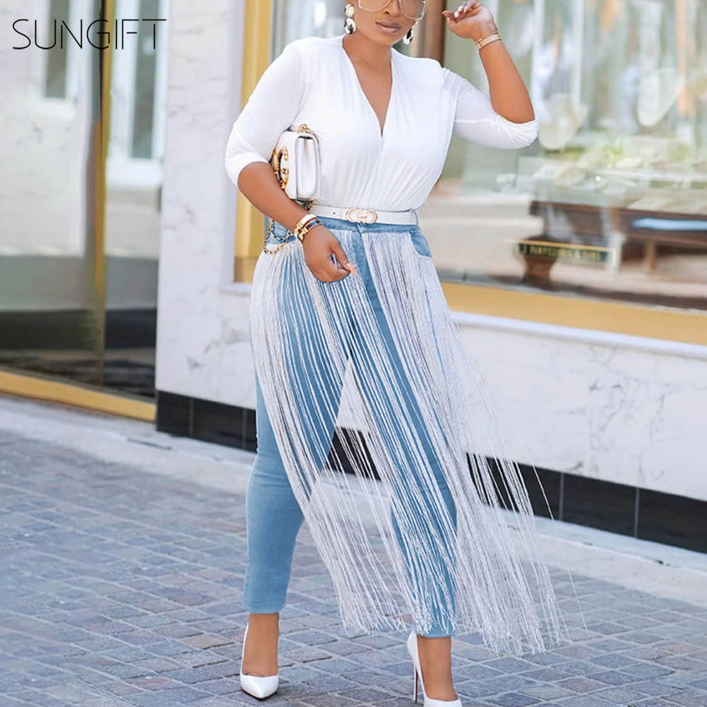 SUNGIFT Dashiki Pants For Women Fashion Tassel Jeans Stretch Pants 2019 New African Clothing Wearable In All Seasons Tight Jeans